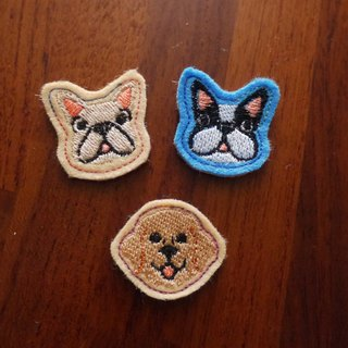 Happy Dog (E) Embroidered brooch 3 (background fabric random production)