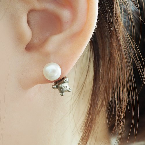 Pearl and cat earrings Silver one ear