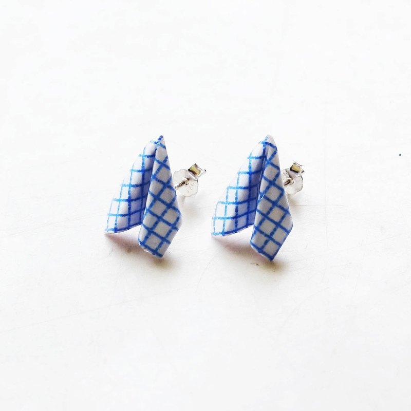 Origami Paper Plane Earrings (Blue)