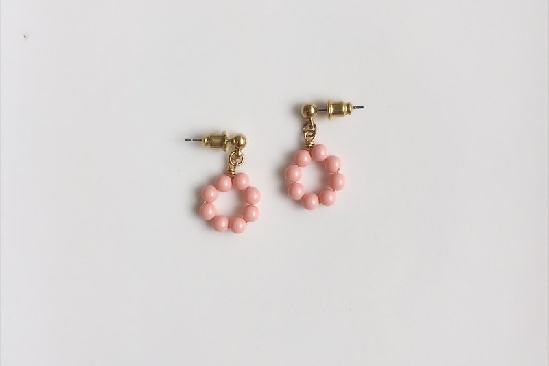 Strawberry Donuts Brass Shape Earrings