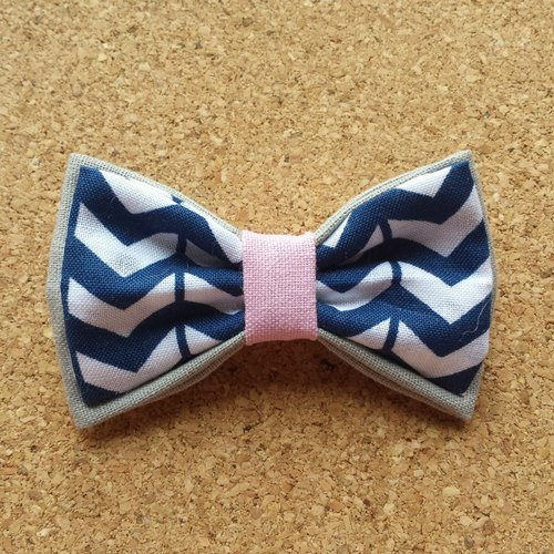 Chevron Charm Double Layer Pet Bowtie Collar - Handmade Dog and Cat Bowtie - Geometric