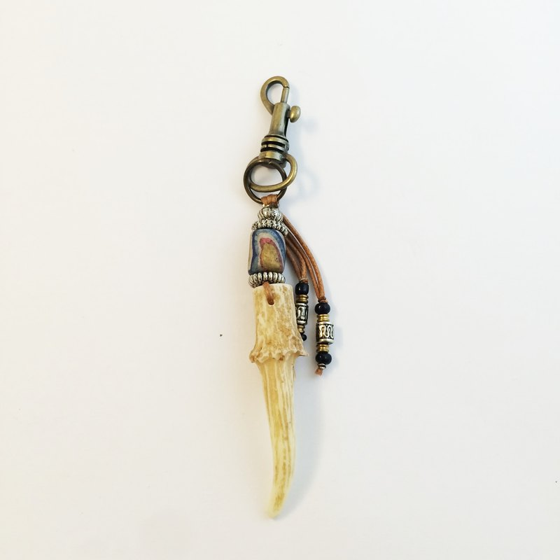 ▼ Wild Man Muntjac Antler Keyholder ▲ Savage Hill Qiaoqian Key Ring (Mini)