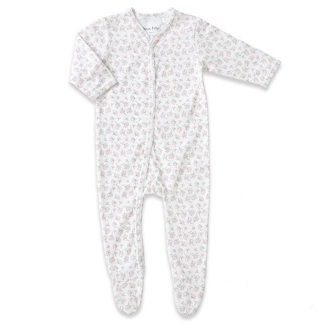 【Deux Filles Organic Cotton】Girl's Pink Leaf Foot Mount