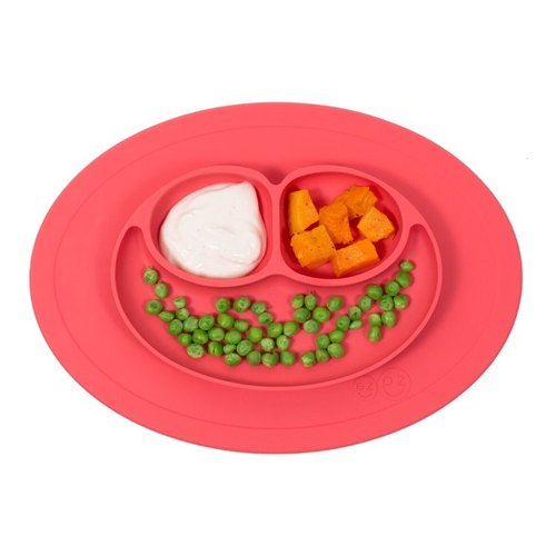 US EZPZ mini plate - coral red HAPPY MAT MINI silicone non-toxic non-toxic cutlery