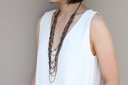 Beaded Necklaces Woven Strand Blue Jade Brass Long