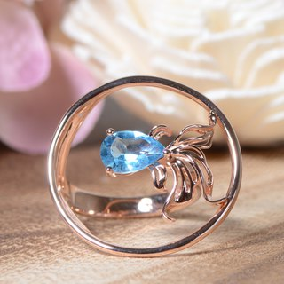 Ryukin - Swiss Blue Topaz 18K Rose Gold Plated Silver Ring