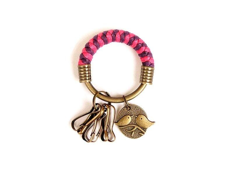 [Na UNA- excellent hand-made] key ring (small) 5.3CM pink + purple + love birds hand-woven wax rope hoop customization
