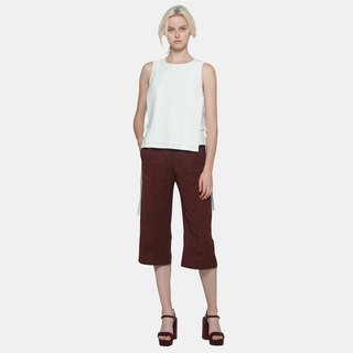Back Slit Textured Culottes (Red)