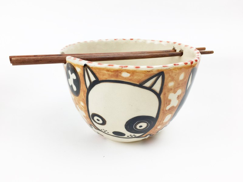 Nice Little Clay Bowl _ cute dog 112533