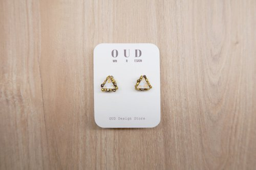 OUD Original. Geometric--14K gf Gold Beads Edge Triangle Stud Earring/Clip-on