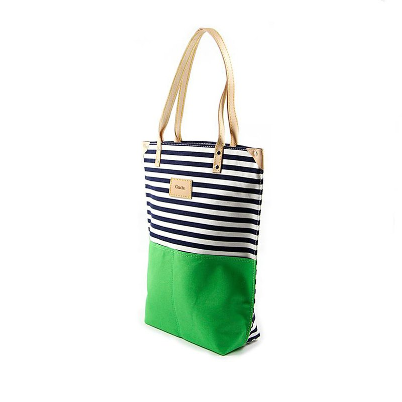 || Stripe walk Tote bag || Matcha green