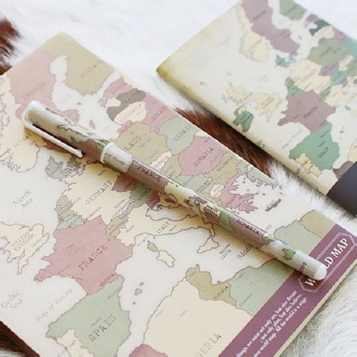 indigo- World Map 0.5 Black Pen Pen - Vintage Brown, IDG04996