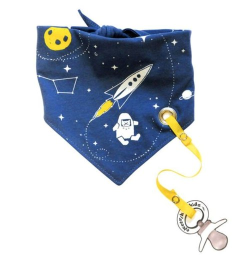 Space series tied bib scarf (with pacifier chain)