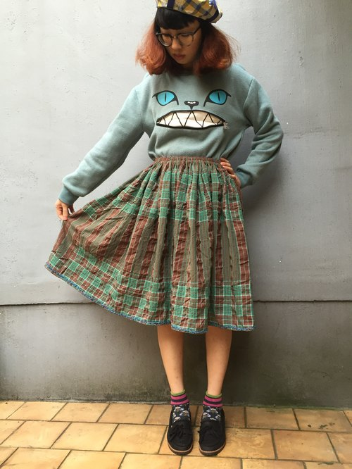 Green plaid / skirt