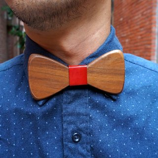 Natural wood tie - Walnut + red leather (gift / wedding / couple / formal occasions)