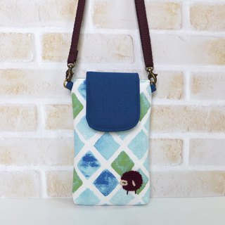 Embroidered sheep mobile phone bag - blue and green small compartment (with strap)