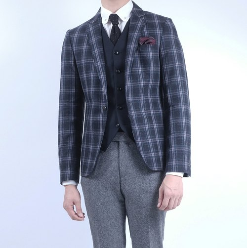 HIATUS red window gray checkered suit suit