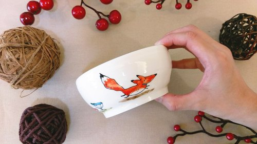 Valentine's Day birthday gift preferred running fox underglaze painted hand-drawn bovine disc