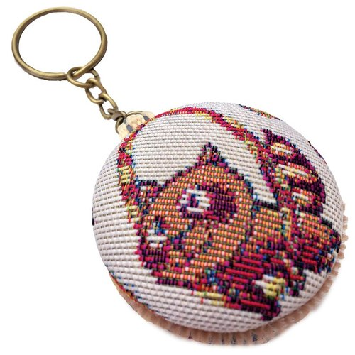 Jacquard weave Videos macarons keychain bag [material] happy white mini-circus