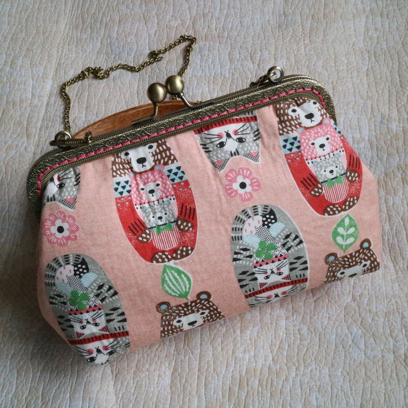 Russian Doll Cat Pink 18cm Cross Body Bag M Size | Girlskioku~*