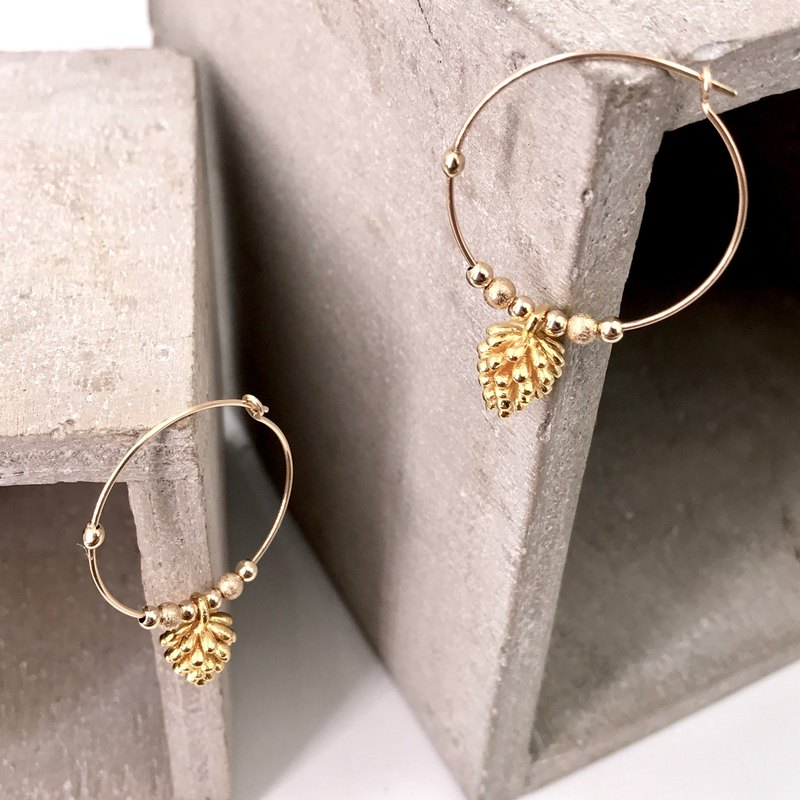E21002 Pinecone Silver 925 & 14K Gold Earrings