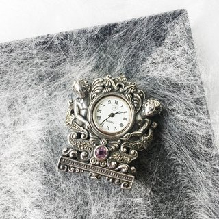 British little angel table with clock | 925 silver British fine hand made