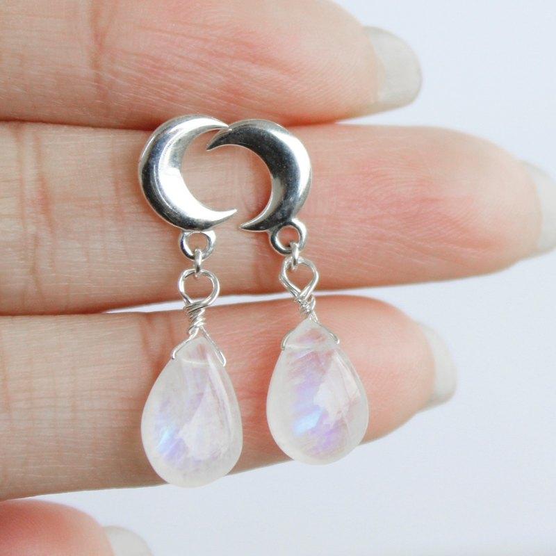 337d962ae Moon drops 925 sterling silver moonstone earrings Blu-ray ultra-fine  compact Wen Qing beauty