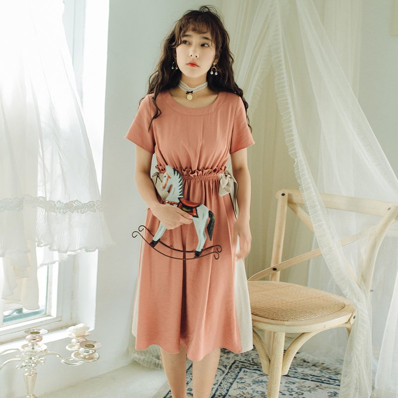 Anne Chen 2018 summer new style art color belt belt waist dress dress skirt