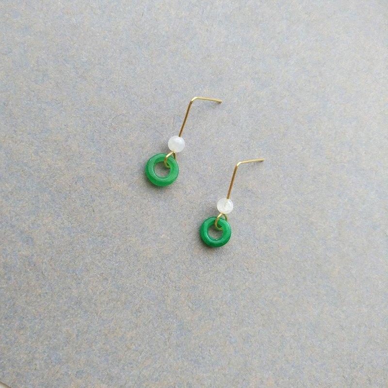 Yuyuan - Brass Jade Jade White Clip Pin Earrings