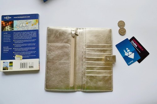Sheepskin passport holder clip length silver rose
