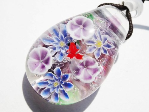 """Morning glory and clematis and gold fish"" Glass Tenpo ball pendant Asagao summer"
