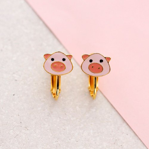 Piggie Earrings with Clipons