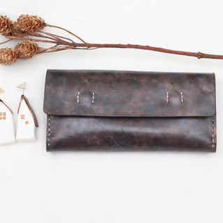 Accordion vegetable tanned leather long wallet - Little green - Dark grey color