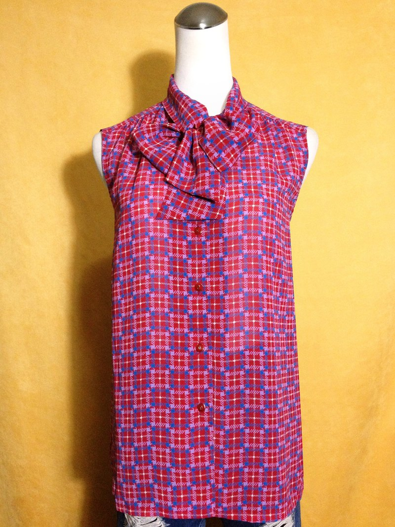 Ping pong ancient [ancient shirt / checkered collar collar chiffon sleeveless shirt] brought back abroad VINTAGE