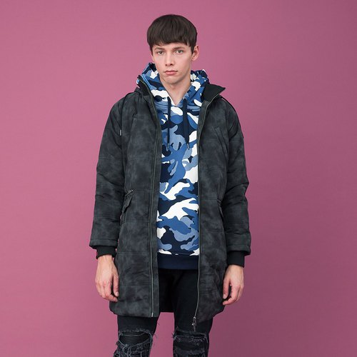 Water repellent Reflective Hooded Quilted Puffer Coat