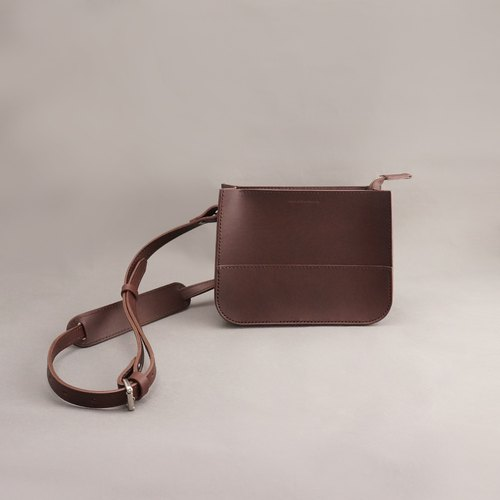 Etta Yate leather carry bag side bag diagonal bag / brown vegetable tanned leather / handmade bag