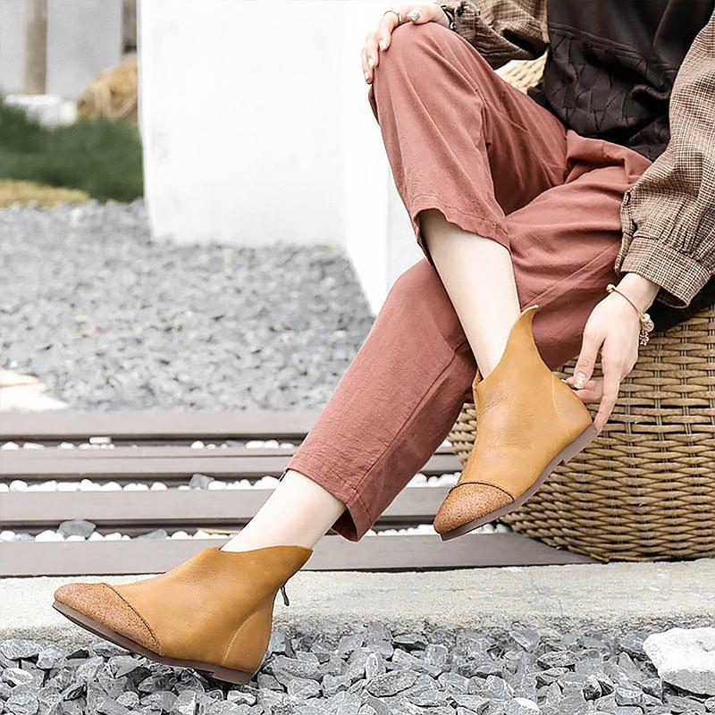 2020秋季手工馬丁靴低幫後拉鍊女靴女休閒短靴斜邊拼接女鞋