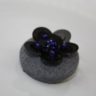handmade black floral brooch, round flower pin