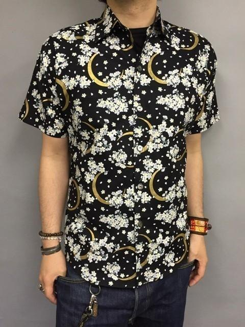 Short-sleeved shirt Japanese Pattern (crescent moon and cherry) Black