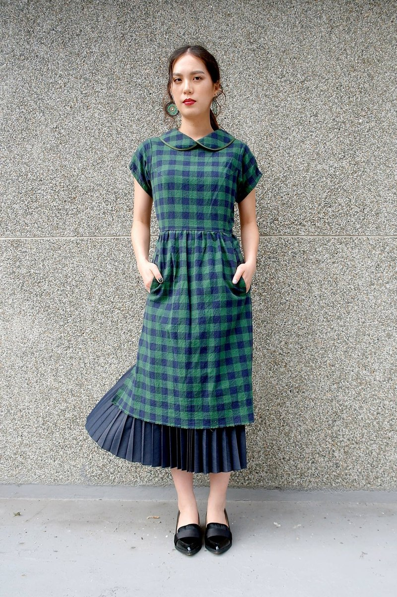Kyoto green grid - cotton and linen half-piece rear opening small round neck strap apron dress