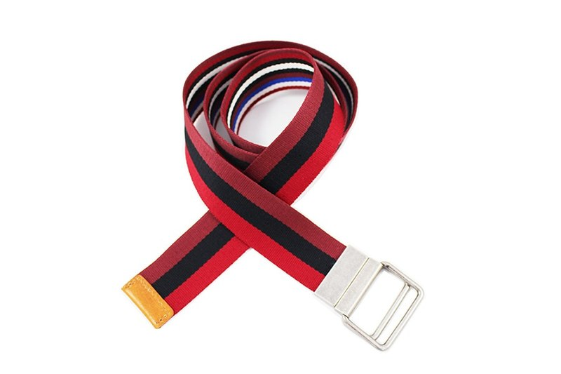 Both sides circle 2 way striped ribbon belt