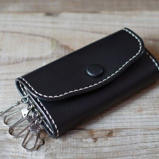 Hand sewn leather key case black
