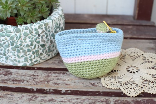[Good Day] Handmade Green Blue Sky picnic basket small purse / coin purse / gift