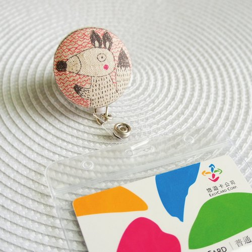Lovely [Japanese cloth] hand-painted wind, fox bag buckle telescopic document folder, ticket holder, cotton color