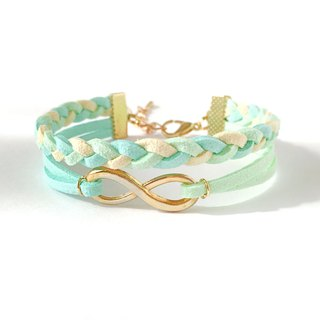 Handmade Double Braided Infinity Bracelets Rose Gold Series–colorful marshmallow