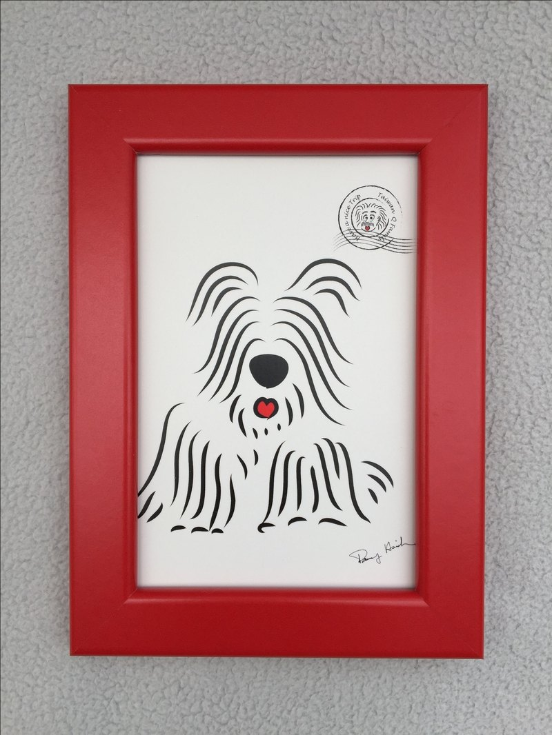 Q Family Postcard + Frame (red) Skye Terrier