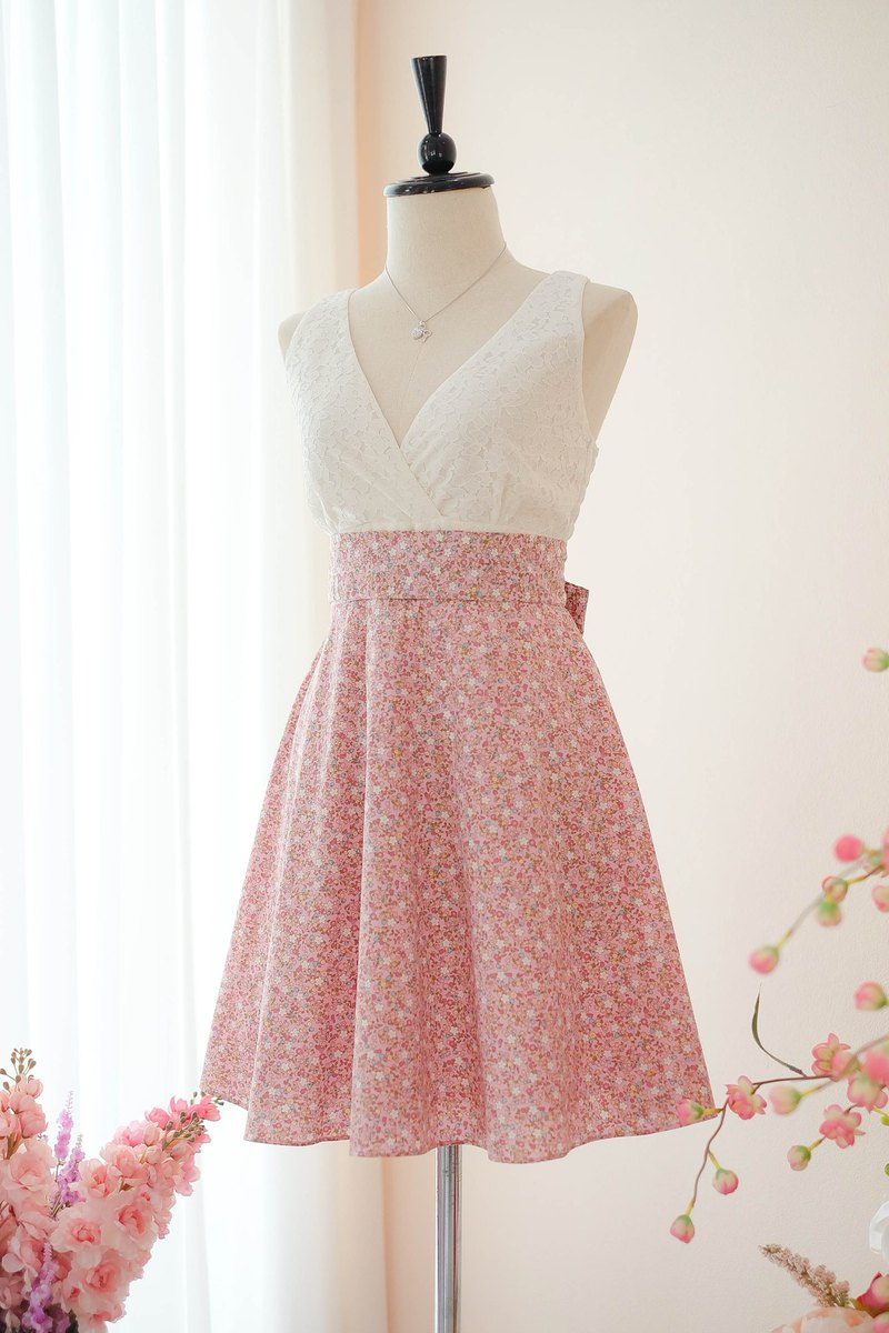 Pink Floral Sundress Spring Summer Tea Dress Vintage Inspired