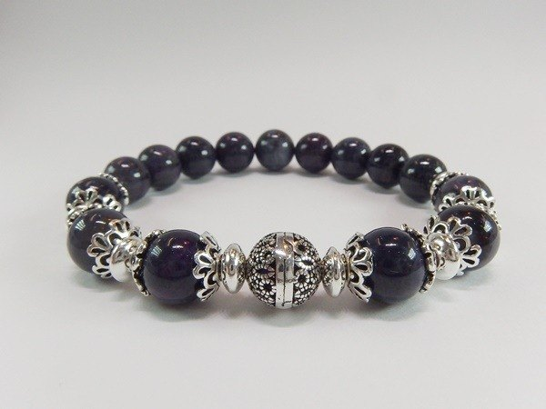"""Deep Blue"" - high-quality natural blue stone Silver bracelet Lai Shu Ju Hong Kong original design"