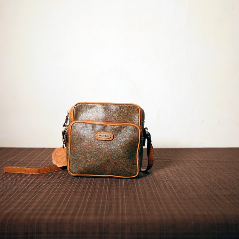 Shika Vintage Bag // PVC Amoeba side back bag / antique bag old things leather old classic only this one