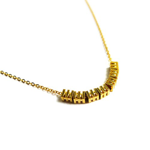 Ficelle | handmade brass natural stone necklace | [small three] brass 18K gold clavicle chain
